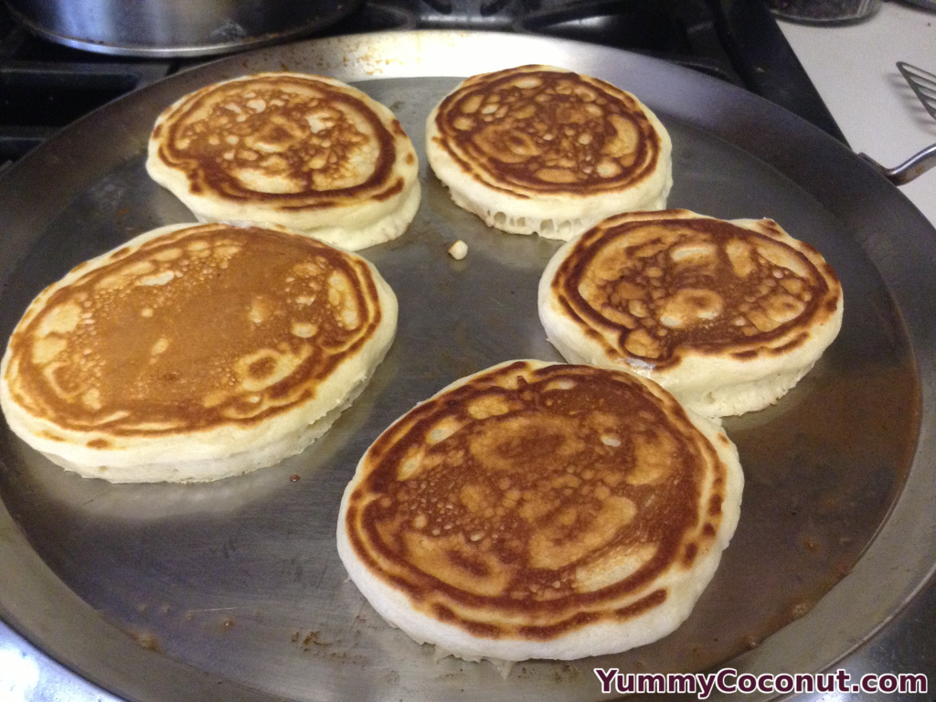 Coconut pancakes flipped