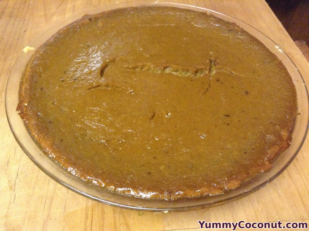 Cooked pumpkin pie with coconut milk